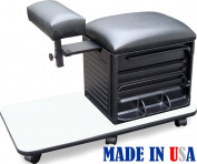 2317-WHT Salon Spa PEDICURE NAIL STATION STOOL w/Footrest Made in USA by Dina Meri