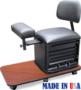 2318-CHR Salon Spa Pedicure Station Stool with Footrest & Back Support by Dina Meri