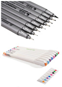 2 Pack Gel Pen Set 8 Assorted Colouring Fine Point Pen 0.4mm + 8pcs Nib Size Professional Comic Sketching Drawing Ink Pen with Brush Set