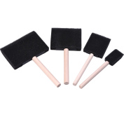 She-love Assorted Size Poly Foam Brush Set Foam Paint Brushes with Wood Handle, 4 Pieces
