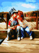 CaptainCrafts New Paint by Numbers 30cm x 41cm for Adults Beginner Kids LINEN Canvas - Romantic Child First Kiss