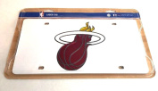Miami Heat WHITE Laser Cut Deluxe Mirrored Licence Plate Tag Logo Basketball