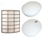 HEPA Filter and Foam & Felt Filter for Shark XFF80 XHF80 Upright Vac Vacuum Cleaner Models NV80, NV70, NVC80C, UV420, NV90
