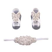 hunpta 1Pair Fashion Beautiful Pearl Barefoot Toddler Baby Foot Flower Anklett