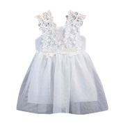 For 2~7 Years Old!sunnymi® Toddler Kids Baby Girl Pure Sweet Princess Clothes Lace Sleeveless Tulle Tutu Dresses for Party Summer Sea Vacation