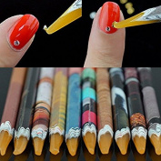 Ferbixo 5 PCS Home Salon Self-adhesive Nail Art Rhinestones Gems Picking Dotting Crayon Pen Pencil Tool Random Colour