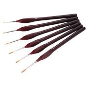 Bluelans 6-Piece Fine Paintbrushes - Detail Paint Brush Set - For Acrylic, Watercolour, Oil