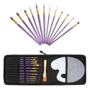 Nylon Hair Paint Brush Set-12 Artists Paint Brushes for Acrylic Paint, Oil, Watercolour with Storage Case Bag, Bonus Palette Art Supplies
