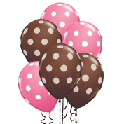 Balloons 28cm Premium Latex Brown with White Polka Dots and Pink with White Polka Dots