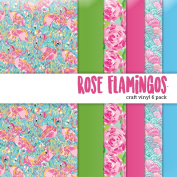 Rose Flamingos Printed Craft Vinyl 6 Sheets 30cm x 30cm