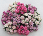 100 pcs mini Rose mixed Pink colour Mulberry Paper Flower 10mm scrapbooking wedding doll house supplies card By' Thai Decorated