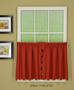 Today's Curtain CA2003K Orleans 60cm Tier Pair Tambour Scallop Edge Curtain, Brick Red, 150cm W x 60cm L
