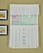 Today's Curtain CA2003K Orleans 90cm Tier Pair with Tiebacks Tambour Scallop Edge Curtain, White, 150cm W x 90cm L/TB