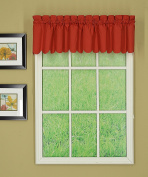 Today's Curtain CA2003K Orleans 30cm Valance Tambour Scallop Edge Curtain, Brick Red, 150cm W x 30cm L