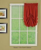Today's Curtain CA2003K Orleans Fan Insert Tambour Scallop Edge Curtain, Brick Red, 80cm W x 100cm L