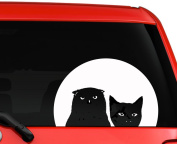 Owl Cat and the Moonlight car truck laptop window decal sticker 15cm white