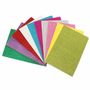 A4 Size 10 Sheets Assorted Colour 20cm x 30cm Glitter Adhesive Paper DIY Craft Scrapbooking Paper Card Sticker