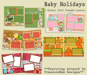 Baby Holiday Scrapbook Kit - 5 Double Page Layouts