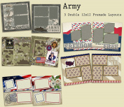 Army Scrapbook Kit - 5 Double Page Layouts