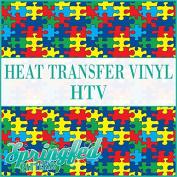 AUTISM PUZZLE PATTERN HTV Puzzle Pieces Heat Transfer Vinyl 30cm x 36cm HTV for Shirts