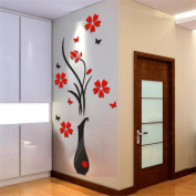 HN DIY Vase Flower Tree Crystal Arcylic 3D Wall Stickers Decal Home Decor