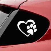 Ecurson Cute Dog Paw Heart Shape Puppy Love Window Car Stickers Wall Decals