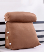 ZENZHEkaodian Triangle Bedside Large Cushions Waist Backrest Pillow For Soft ,bedSide ,Office Wedge Cushion ( Colour : Brown , Size : M