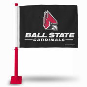 NCAA Ball State Cardinals NCAA Car Flag, Red Pole, Black, 48cm