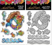 Stampendous Laurel Burch Cling Stamp and Die - Mermaid Fish - 2 Item Bundle