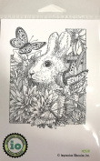 Impression Obsession IO Bunny In Flowers Cling Mounted Rubber Stamp H2530