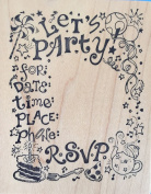 PSX Let's Party Invitation Card Wood Mounted Rubber Stamp K566