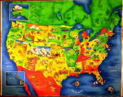 Colourful Map Of the United States Showing Each State Capital Cotton Fabric