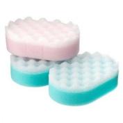 3 x Single Pack Of Coral Bath Massage Sponges Multi Colour Family Pack