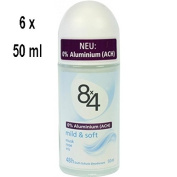 Women's '8x4 Deo Roll-On mild & soft without Aluminium – Pack of 6 x 50 ml