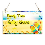 Beautiful Beach Sign Sandy Toes And Salty Kisses Decorative Sign