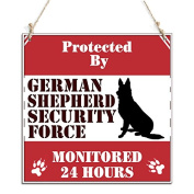 Dog Signs Protected By German Shepherd Security Force Sign