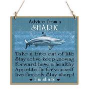 Advice From A Shark Decorative Sign With Shark Decor Sign Blue