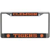 Clemson Tigers Metal Licence Plate Frame - Carbon Fibre