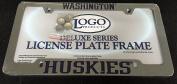 DELUXE Licence Plate Frame - Uni of Washington - HUSKIES - Die Cast Metal