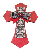 The Faith Collection Red, Black and White with Bow Jewel MDF Layered Wall Cross, 48cm
