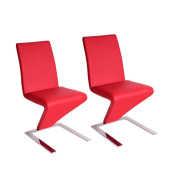 Panana 2x Modern Designer Z Shape Dining Lounge Chairs Chrome Faux Leather Padded Seat