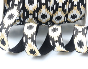 Top Hunter 1.6cm 10 Yds Soft Fold Over Elastic Strips Gold Printed Stretch Ribbon FOE For Hair Tie Hair Band Headband Accessories,Black
