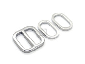 CRAFTMEmore 2.5cm 2PCS Movable Bar Sliders and 4 PCS Oval Rings, Strap Adjuster Square Slide Buckle Metal Loops for Bags