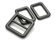 CRAFTMEmore 1SET Matte Black Metal Purse Slider and Loops 1PC Slide Buckle with 2PCS Rectangular Rings Leather Craft