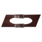 Sew On Faux Leather Tab Closure Adjustable Double Strap Patent Brown Tab and Nickel Buckles