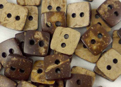 bangdan Coconut Buttons Lot Brown Craft/kids Sewing, 20pcs square 10x10mm