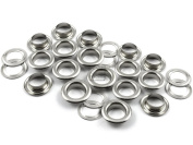 CRAFTMEmore 0.6cm Hole Size 100 Sets SILVER Tone Metal Grommets Eyelets with Washers For Bead Cores, Clothes, Leather, Canvas