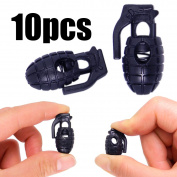Shells 10PCS Strong Single Hole Spring Loaded Stop Sliding Cord Locks Fastener Slider Toggles End Cord Lock Stopper Buttons for Camping & Hiking, Shoelace Replacement, Sports, Backpacks