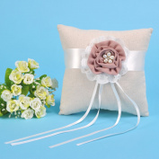 Remedios Linen With Flower Bearer Pillow Wedding Ring Pillow