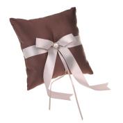 Remedios Chocolate Satin With Pink Bowknot Ring Pillow Bearer Pillow
